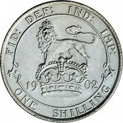 UK One Shilling Edward VII 1902 KM# 800 FID: DEF: IND: IMP: *YEAR* ONE SHILLING coin reverse