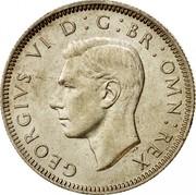 UK One Shilling English crest 1944 KM# 853 GEORGIVS VI D:G:BR:OMN:REX HP coin obverse
