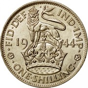 UK One Shilling English crest 1944 KM# 853 ∙FID∙DEF∙IND∙IMP∙ *YEAR* ∙ONE∙SHILLING∙ coin reverse