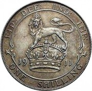 UK One Shilling George V 1911 KM# 816 FID: DEF: IND: IMP: *YEAR* ONE SHILLING coin reverse