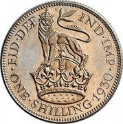 UK One Shilling George V 1930 Proof KM# 833 FID∙DEF IND∙IMP ONE∙SHILLING∙*YEAR* coin reverse