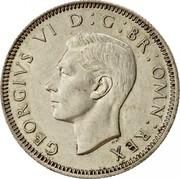 UK One Shilling Scottish Crest 1945 KM# 854 GEORGIVS VI D:G:BR:OMN:REX HP coin obverse