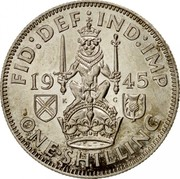UK One Shilling Scottish Crest 1945 KM# 854 FID:DEF IND:IMP *YEAR* ONE∙SHILLING coin reverse
