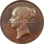 UK Penny 1839 Proof KM# 739a Pre-Decimal coinage coin obverse
