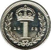 UK Penny Elizabeth II (Maundy pre-decimal; 1st issue) 1953 Prooflike KM# 884 19 1 53 coin reverse