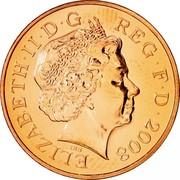 UK Penny Royal Arms Shield Puzzle 1/6 2008 Proof KM# 1107 ELIZABETH∙II∙D∙G REG∙F∙D∙2011 IRB coin obverse