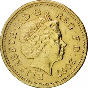 UK Pound Gateshead Millennium Bridge 2007 British Royal Mint KM# 1074 ELIZABETH∙II∙D∙G REG∙F∙D∙2007 IRB coin obverse