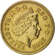 UK Pound Menai Bridge 2005 British Royal Mint Proof KM# 1051 ELIZABETH∙II∙D∙G REG∙F∙D∙2005 IRB coin obverse