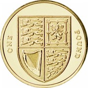 UK Pound Shield of the Royal Arms 2008 British Royal Mint Proof KM# 1113 ONE POUND coin reverse