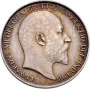 UK Six Pence Edward VII 1902 KM# 799 EDWARDVS VII DEI GRA:BRITT:OMN:REX FID:DEF:IND:IMP coin obverse
