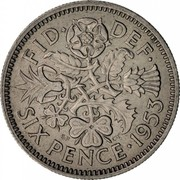 UK Six Pence Elizabeth II 1953 Proof KM# 889 FID∙ DEF∙ SIX PENCE 1953 E.F C.T coin reverse