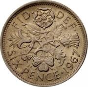UK Six Pence Elizabeth II (1st portrait) 1967 KM# 903 FID∙ DEF∙ SIX PENCE∙*YEAR* E.F C.T coin reverse