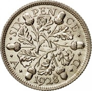 UK Six Pence George V 1928 Proof KM# 832 ∙SIX PEN CE∙ ∙ A ∙ *YEAR* ∙ D ∙ KC coin reverse