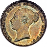 UK Six Pence Victoria 1838 KM# 733.1 VICTORIA DEI GRATIA BRITANNIAR : REG : F : D : coin obverse