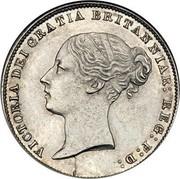 UK Six Pence Victoria 1865 KM# 733.2 VICTORIA DEI GRATIA BRITANNIAR : REG : F : D : coin obverse