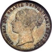 UK Six Pence Victoria 1877 KM# 751.2 VICTORIA DEI GRATIA BRITANNIAR : REG : F : D : coin obverse