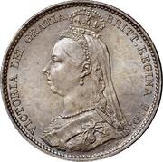 UK Six Pence Victoria 1888 KM# 760 VICTORIA DEI GRATIA BRITT: REGINA F:D: E.B. coin obverse