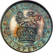 UK Sixpence George V Modified head 1911 KM# 815 FID: DEF: IND: IMP: *YEAR* SIXPENCE coin reverse