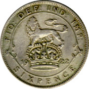 UK Sixpence George V Modified head 1922 KM# 815a.1 FID: DEF: IND: IMP: *YEAR* SIXPENCE coin reverse