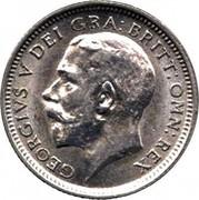 UK Sixpence George V Modified head 1926 KM# 815a.2 GEORGIVS V DEI GRA:BRITT:OMN:REX coin obverse