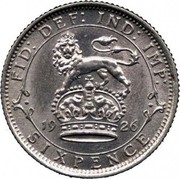 UK Sixpence George V Modified head 1926 KM# 815a.2 FID:DEF:IND:IMP: *YEAR* SIXPENCE coin reverse