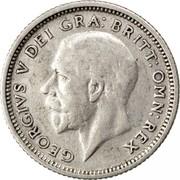UK Sixpence George V Modified head 1927 Proof KM# 828 GEORGIVS V DEI GRA:BRITT:OMN:REX BM coin obverse