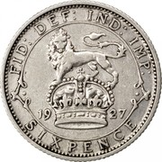 UK Sixpence George V Modified head 1927 Proof KM# 828 FID: DEF: IND: IMP: SIXPENCE *YEAR* coin reverse