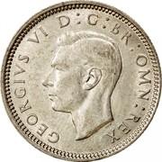 UK Sixpence George VI 1942 Proof KM# 852 GEORGIVS VI D:G:BR:OMN:REX coin obverse