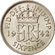 UK Sixpence George VI 1942 Proof KM# 852 FID∙DEF∙ ∙IND∙IMP *YE GRI AR* K. G. SIXPENCE coin reverse