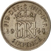 UK Sixpence George VI 1948 Proof KM# 862 FID∙DEF∙ ∙IND∙IMP *YE GRI AR* K∙G SIXPENCE coin reverse