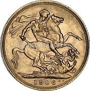 UK Sovereign 1906 KM# 805 British Royal Mint Sovereign Coins coin reverse