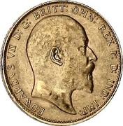 UK Sovereign Edward VII 1906 KM# 805 EDWARDVS VII D:G: BRITT: OMN: REX F:D: IND: IMP: coin obverse