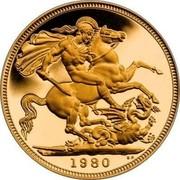 UK Sovereign Elizabeth II (2nd portrait) 1980 KM# 919 1980 BP coin reverse