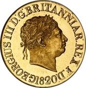 UK Sovereign George III 1820 KM# 674 GEORGIUS III D.F. BRITANNIAR. REX F.D. coin obverse