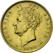 UK Sovereign George IV 1829 KM# 696 GEORGIUS IV DEI GRATIA coin obverse