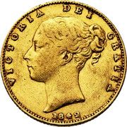 UK Sovereign Victoria 1842 KM# 736.1 VICTORIA DEI GRATIA coin obverse