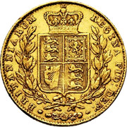 UK Sovereign Victoria 1842 KM# 736.1 BRITANNIARUM REGINA FID: DEF: coin reverse
