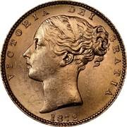 UK Sovereign Victoria 1872 KM# 736.2 VICTORIA DEI GRATIA coin obverse
