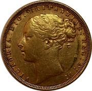 UK Sovereign Victoria 1872 KM# 752 VICTORIA D:G: BRITANNIAR: REG: F:D: coin obverse