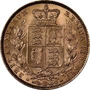 UK Sovereign Victoria 1872 KM# 736.2 BRITANNIARUM REGINA FID: DEF: coin reverse