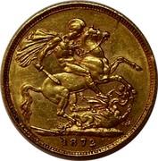 UK Sovereign Victoria 1872 KM# 752 B. P. coin reverse