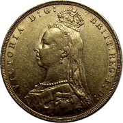 UK Sovereign Victoria 1891 KM# 767 VICTORIA D:G: BRITT: REG: F:D: coin obverse