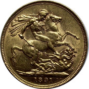 UK Sovereign Victoria 1891 KM# 767 1889 B.P. coin reverse