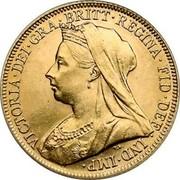 UK Sovereign Victoria 1900 KM# 785 VICTORIA ∙ DEI ∙ GRA ∙ BRITT ∙ REGINA ∙ FID ∙ DEF ∙ IND ∙ IMP ∙ coin obverse