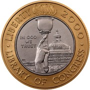 USA Ten Dollars Library of Congress 2000 W KM# 312 ∙ LIBERTY 2000 ∙ IN GOD WE TRUST LIBERTY OF CONGRESS coin obverse