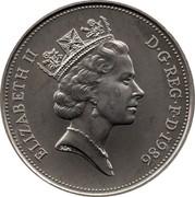 UK Ten Pence Elizabeth II 1986 KM# 938 ELIZABETH II D∙G∙REG∙F∙D∙1992 RDM coin obverse