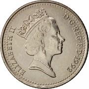 UK Ten Pence Elizabeth II 1992 KM# 938b ELIZABETH II D∙G∙REG∙F∙D∙1996 RDM coin obverse