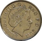 UK Ten Pence Royal Shield magnetic 2011 British Royal Mint KM# 1110d ELIZABETH∙II∙D∙G REG∙F∙D∙2011 IRB coin obverse