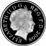 UK Ten Pence Royal Shield non-magnetic 2008 Proof KM# 1110 ELIZABETH∙II∙D∙G REG∙F∙D∙2008 IRB coin obverse