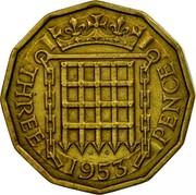 UK Three Pence Elizabeth II 1953 Proof KM# 886 W G THREE 1953 PENCE coin reverse